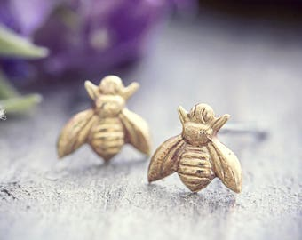 Bee Earrings Tiny Bee Studs Botanical Jewelry Miniature Bumblebee Gold Dainty Flower Insect Gardener Gift For Her Nature Lover Honey Bees