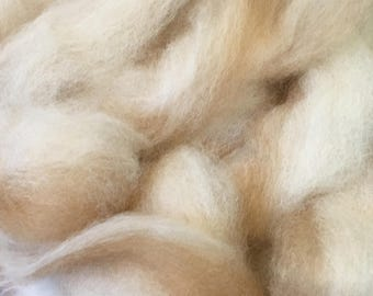 Coppertone Cream Alpaca Yak Bunny Silk Roving