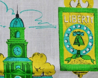 Vintage Bicentennial Linen Tea Towel, Parisian Prints, Souvenir 1976 Kitchen Towel, Independence Hall, Liberty Bell, Philadelphia