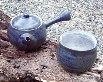 Rustic Blue Kyusu with matching cup