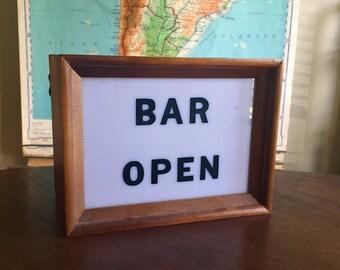 Unique 1950s Bar Open Light - Wood Box - Working
