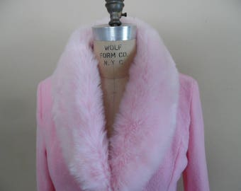 Terry Cloth Robe with Faux Fur Trim, Vintage 1980s Cotton Candy Pink Long Dressing Gown, Lounger; Pink Hollywood Glam Robe by Countess; NWT