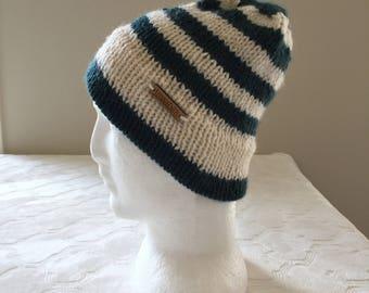 Wool knitted beanie, green and white beanie, women's beanie, men's beanie, winter beanie, winter hat, knitted hat, green hat, white hat.