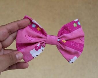 Hello Kitty Hair bow, Fabric bow, Hair Accessory