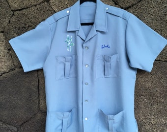 Baby Blue Aloha Work Shirt