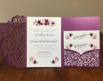 Gorgeous Purple Shimmer Laser Cut Wedding Invitations Pocket Wedding invitation Laser Cut Jacket Purple Shimmer Laser Cut other colors too