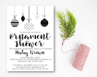 Ornament Bridal Shower Invitation, Christmas Ornament Shower Invitation, Christmas Wedding Shower Invitation, Ornament, DIY or Printed