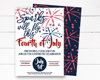 4th of July Invitation, Independence Day Invitation, Fireworks Invitation,  4th of July, Patriotic Invitation, Red White Blue, DIY/Printed