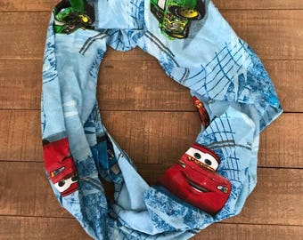 Cars Infinity Scarf, Upcycled Sheets, Lightning McQueen, Disney's Pixar
