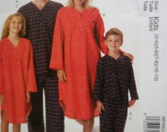 McCall MP480 Kids (boys and girls)  nightshirt and  pajamas  sizes (3-4) (5-6) (7-8) (10-12)