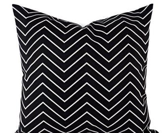 15% OFF SALE Decorative Pillow Covers - Two Black Chevron Throw Pillows - Chevron Pillow Cover - Accent Pillow - 12x16 12x18 14x14 16x16 18x