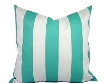 15% OFF SALE Two Indoor Outdoor Pillow Covers - 16 18 or 20 In - Striped Pillow Covers - Aqua Pillow - Teal Pillow Covers - Patio Pillow - A