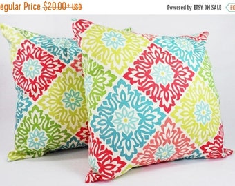15% OFF SALE Couch Pillow Covers - Two Pillow Covers in Coral and Teal - Coral Throw Pillows - Teal Coral Pillow Cover - Coral Throw Pillow