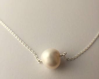 Sterling silver and white fresh water pearl necklace