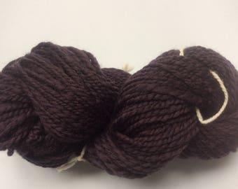 Dark purple handspun wool yarn