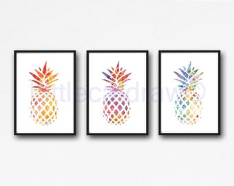 Pineapple Print Set Of 3 Tropical Watercolor Painting Kitchen Wall Art Pineapple Wall Decor Colorful Wall Art Watercolor Print Summer Party