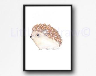 Hedgehog Print Watercolor Painting Print Woodland Animal Print Wall Art Living Room Decor Wall Decor Woodland Hedgehog Art Print
