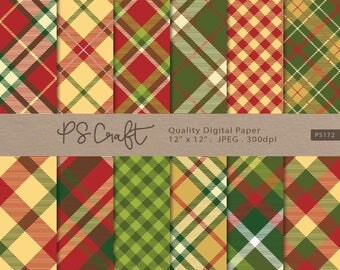 Christmas Plaid Digital Paper, SEAMLESS Plaid Digital Paper, Xmas Tartan Papers, Christmas Paper, Green and Red Scrapbook Paper