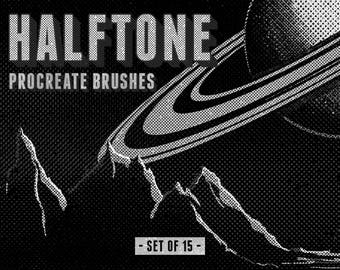 Halftone Procreate Brushes - Set of 15 brushes - For the iPad app Procreate - Digital brushes - Halftone brushes - Digital art resources