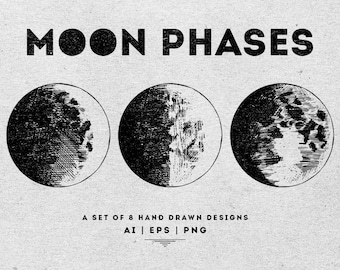 Moon Phases Clipart - Digital graphics - Digital Vector and PNG resources - Moon phases illustrations - Solar System