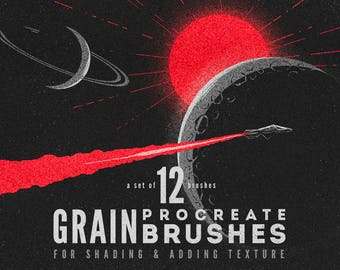 Procreate Grain Brushes - Texturing / shading brushes - Set of 12 - For the iPad app Procreate - Digital brushes - Digital art resources