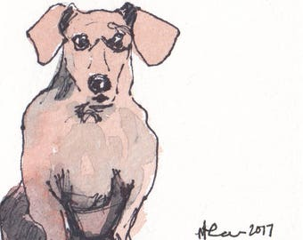 Original Watercolor Dachshund Painting