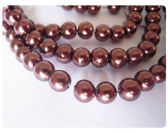 20 Brown 6mm Pearly beads