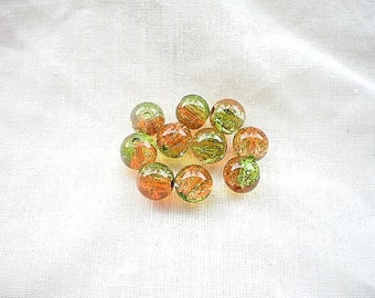 10 green Orange Crackle Glass 8mm beads