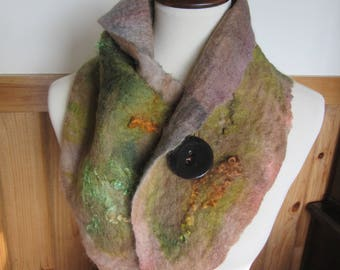 Nuno Felted Scarf/Neckwarmer Handmade from Alpaca and Other Fibers With Button