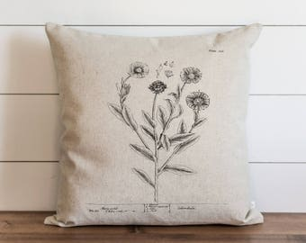 Botanical Marygolds 20 x 20 Pillow Cover // Everyday // Herbs // Gift // Accent Pillow