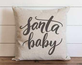 Santa Baby 20 x 20 Pillow Cover // Santa // Christmas // Holiday // Winter // Throw Pillow // Gift // Accent Pillow