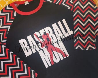 Baseball Mom Shirt Raglan Glitter T-ball TBall T Ball Baseball Mom Red Green Blue Purple Red Black