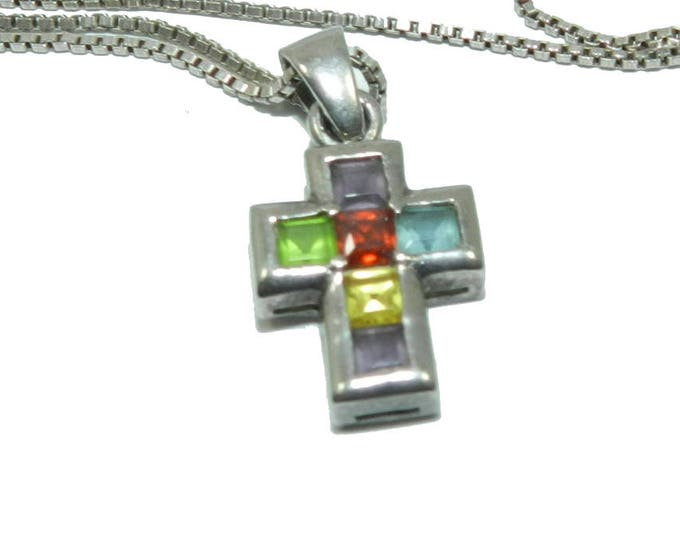 "Vintage Cross Multi Color Gemstones 925 Sterling Silver Necklace, cross pendant necklace on 26"" chain, vintage 925 jewelry jewellery, gift"