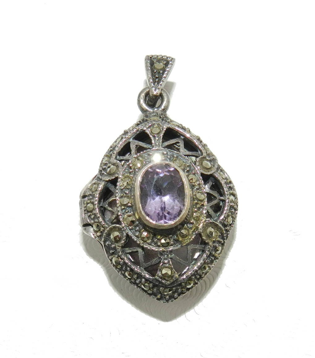 Vintage 925 sterling silver amethyst marcasite locket pendant vintage 925 sterling silver amethyst marcasite locket pendant necklace with 20 inch chain art deco stamped amethyst jewelry jewellry gift aloadofball Image collections