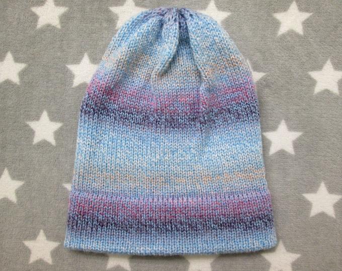 Knit Hat - Pastel Gradient - Blue Purple White Peach - Slouchy Beanie
