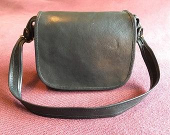 COACH New York City Cashin Flap Saddle Bag - Black Leather Shoulder with Brass