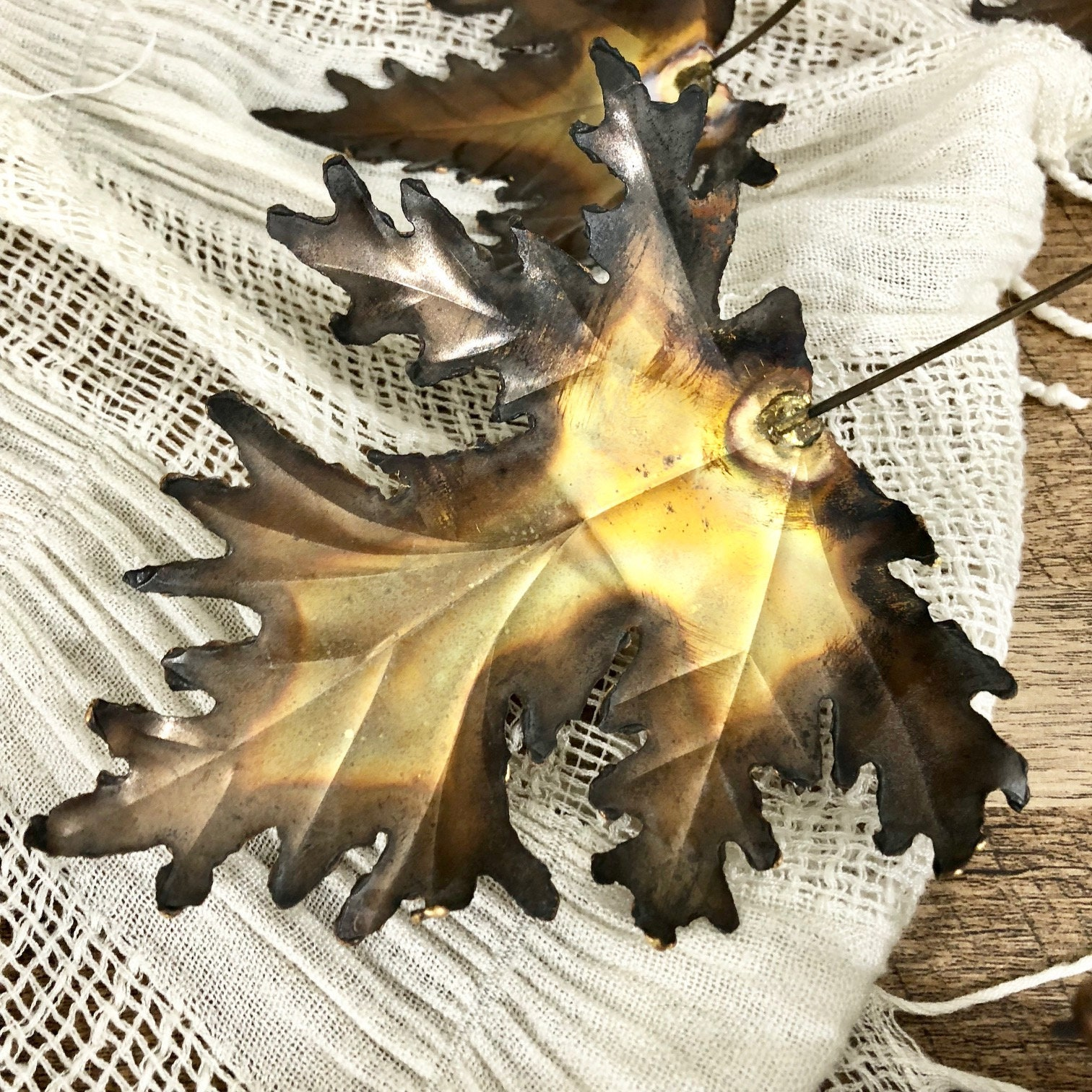 Beautiful Large Vintage Metal Leaf Wall Art / Handcrafted Brass and ...