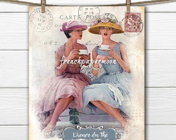 Shabby vintage tea French digital graphic, ladies drinking tea, teatime printable, invitation, fabric transfer, scrapbooking