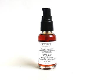 Protective Facial Serum SOLAR All SKin Type Face Serum. Sun Protective Serum. Natural Sunscreen Sun Shade with Red Raspberry + Karanja