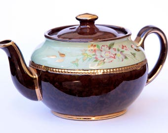 Sadler Demitasse Teapot Brown Floral Mint with gold accents