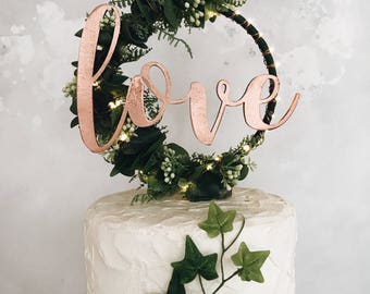 Custom Wedding Cake Topper - Hoop Wreath - rustic wedding hoop - boho cake topper - floral hoop wreath