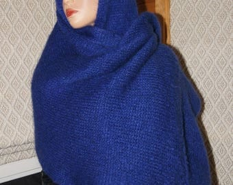 Dark Blue Mohair Knitting Wrap Shawl, Mohair Wide  Scarf, Wrap Wide Scarf For Man or Women