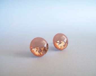 Rose & Copper Stud Earrings - Gift for Her - Hypoallergenic Titanium Posts