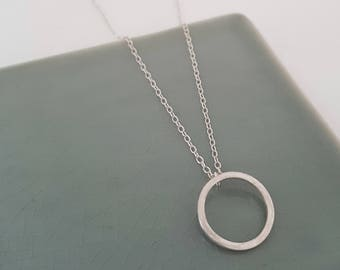 Silver Circle Pendant, Simple Silver Pendant, Handmade Silver Necklace, Silver Circle Necklace, Round Silver Pendant, Circle Link Pendant