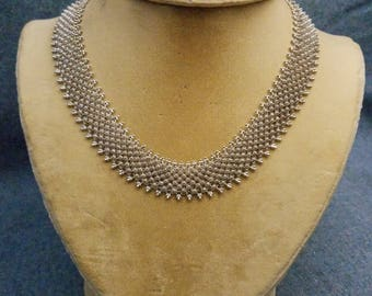 Exquisite Byzantine Chainmail 950 Sterling Silver Mesh Necklace Flower Rosette Detail