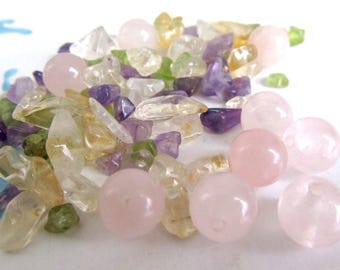 Rainbow Fluorite Chips, Pink Quartz Beads, Multi Color Gemstone Bead Mix, pink fluorite, clear quartz, yellow citrine, chakra colors