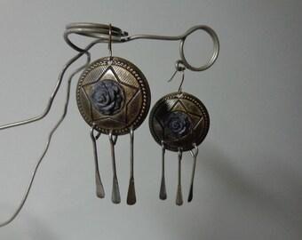 Dome Earrings, Antique Bronze Dangle Earrings, Bronze Long Dangle Earrings, Dome Dangle Earrings, Bronze Dome Dangle Earring, Concho Earring