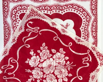 2 red & white floral and ribbons 1960s hankies, fabulous graphics