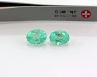 9 X 7mm 3.9 Carat Oval Matched Pair Natural Colombian Emeralds Loose Gemstones