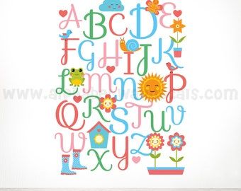Alphabet Wall Decal - Girls Room Children Wall Decal - Playroom Wall Decal - Play Room Wall Decal - Custom Decal Wall Graphics 01-0009